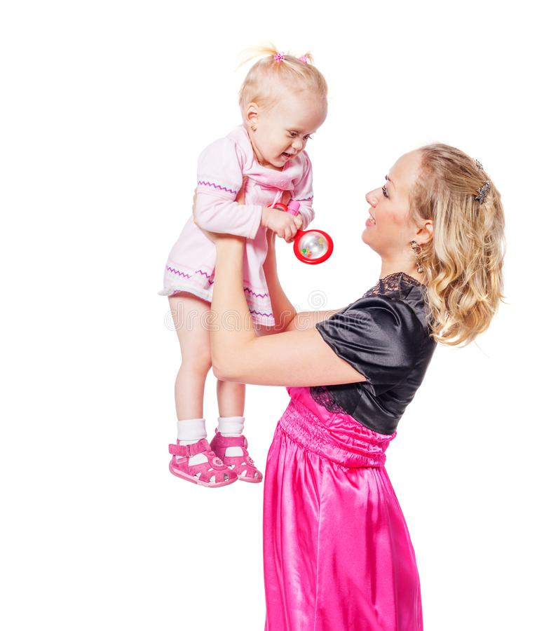 Mother holding daughter royalty free stock photography