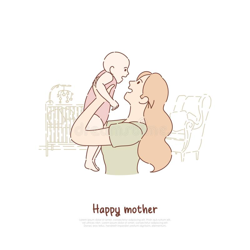 Happy mother holding newborn child, cheerful lady playing with toddler, female happiness, babysitting, parenting banner vector illustration