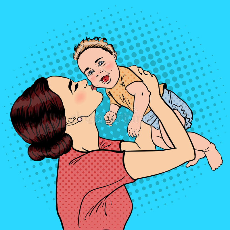 Happy Mother Kissing Her Smiling Baby Boy. Pop Art stock illustration