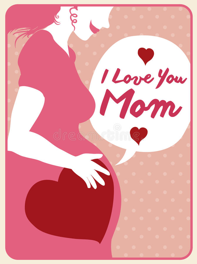 Happy Mother Rubbing her Belly, Vector Illustration royalty free stock image
