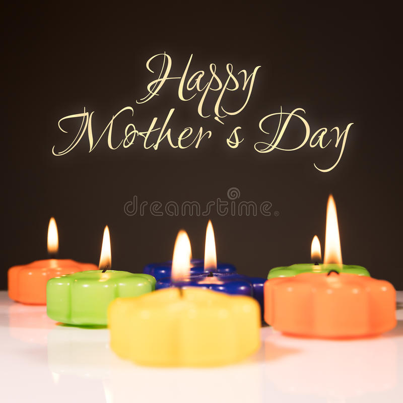 Happy mother`s day. Background with candles and text happy mother`s day stock photography