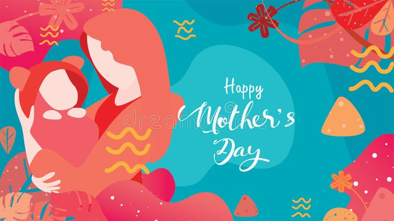 Happy mother`s day! beautiful Mum smiling and holding healthy baby with happy. Colorful vector illustration flat design style. stock illustration