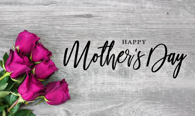 Happy Mother`s Day Calligraphy with Pink Roses royalty free stock photos