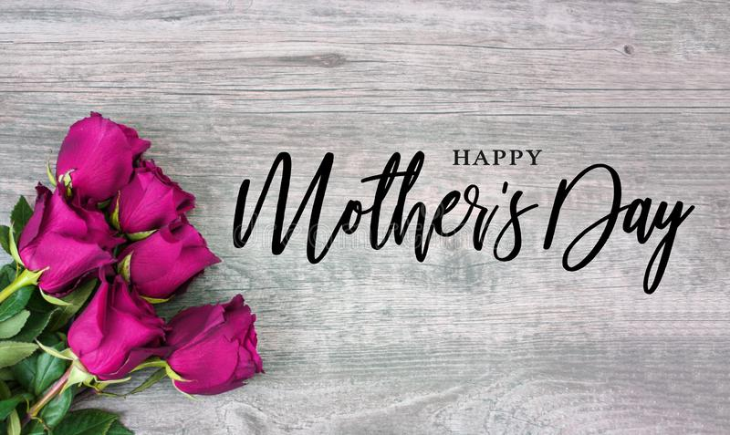 Happy Mother`s Day Calligraphy with Pink Roses stock image