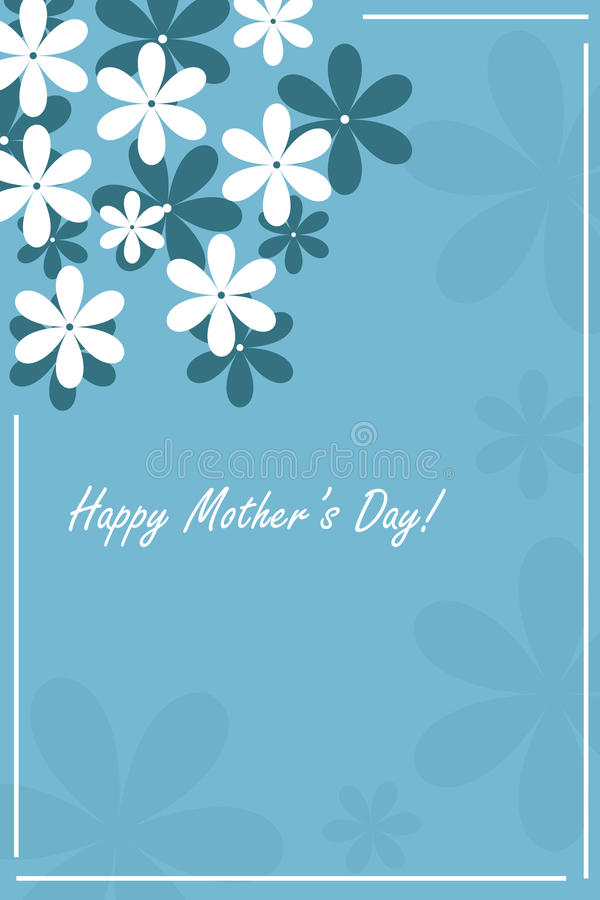 Happy mother's day card. Illustration of a blue happy mother's day card with flowers.EPS file available