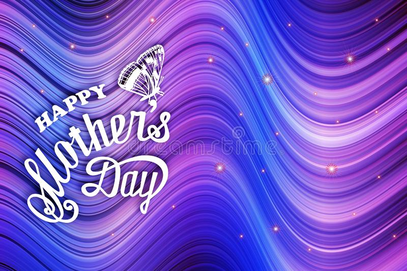 Happy mother`s day - card. Abstract gradient background of multicolored lines vector illustration