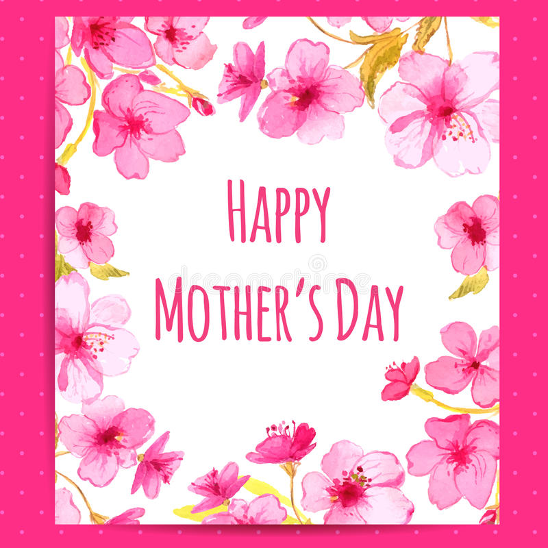 Happy Mother\'s Day Card With Cherry Blossom Stock Vector ...