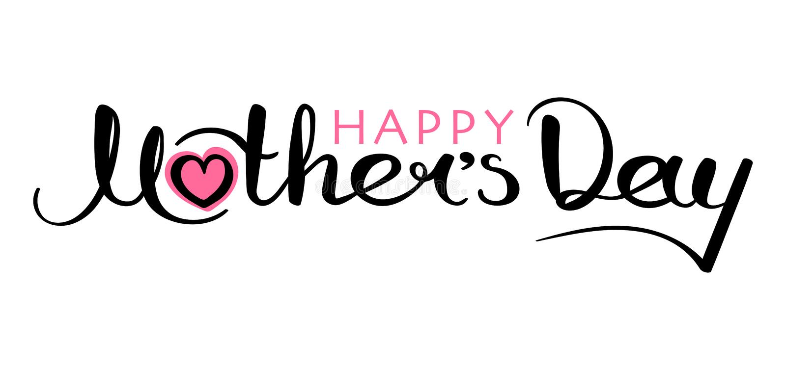 Happy Mother`s Day handwritten inscription vector illustration