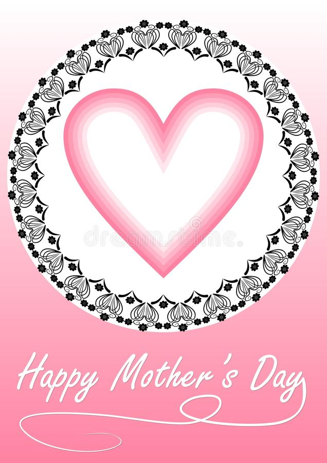 Happy mother's day card with heart in ornamental frame in pink design. Vector eps10 vector illustration