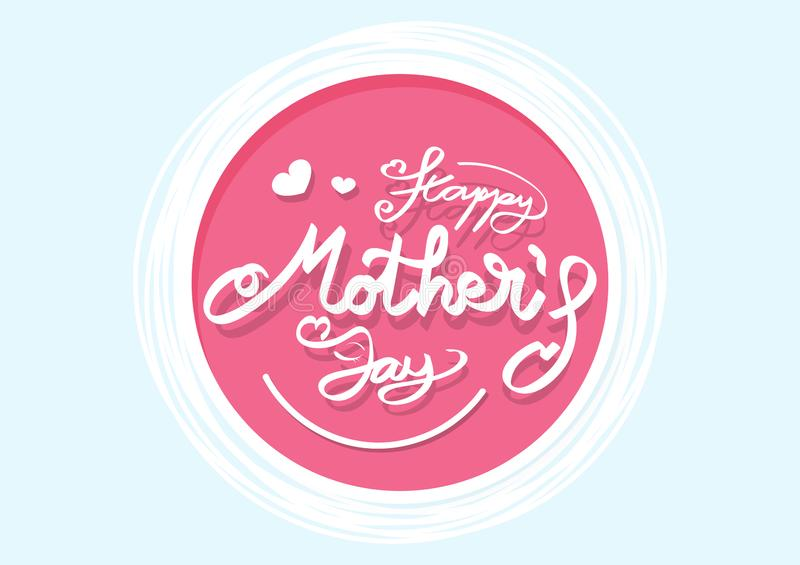 Happy Mother`s day card logo banners flat design, calligraphy ribbon style, white heart confetti decorate romantic poster present stock illustration