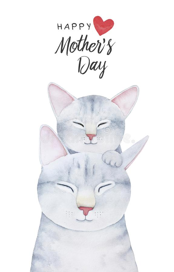Happy Mother`s Day card template with cute cat family. vector illustration