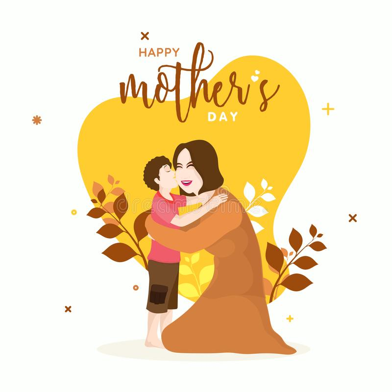 Happy Mother`s Day celebration concept with young son kissing hi. S mom, beautiful yellow floral decorated background stock illustration