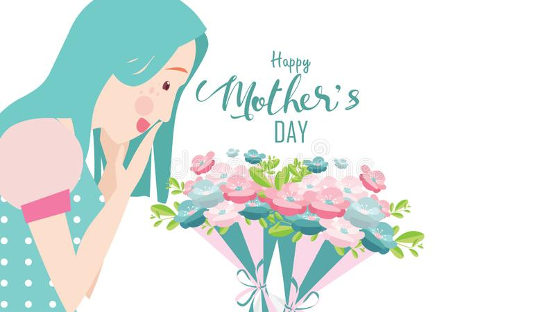 Happy mother`s day! Close up mum smiling and surprising. Attractive woman with flowers. Female with tulips. Spring bouquet. stock illustration