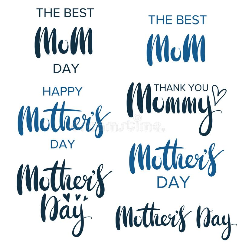 Happy mother`s day. Collection of greeting lettering phrases for greeting cards. Happy mother`s day. Greeting lettering phrase in frame for greeting card stock illustration