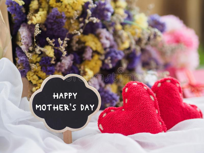 Happy mother`s day concept. wooden tag with HAPPY MOTHER`S DAY t royalty free stock photography