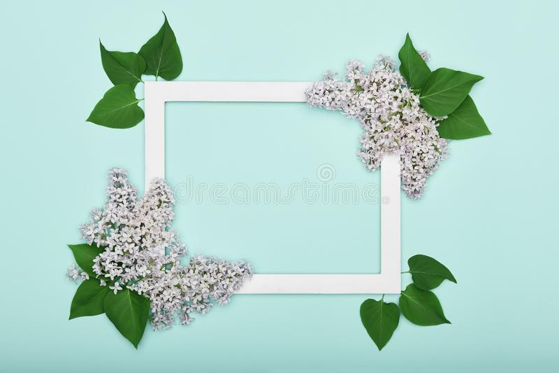 Happy Mother`s Day, Father`s day, Women`s Day or Birthday Pastel Candy Blue Colour Background. Floral flat lay. Happy Mother`s Day, Father`s day, Women`s Day or royalty free stock images