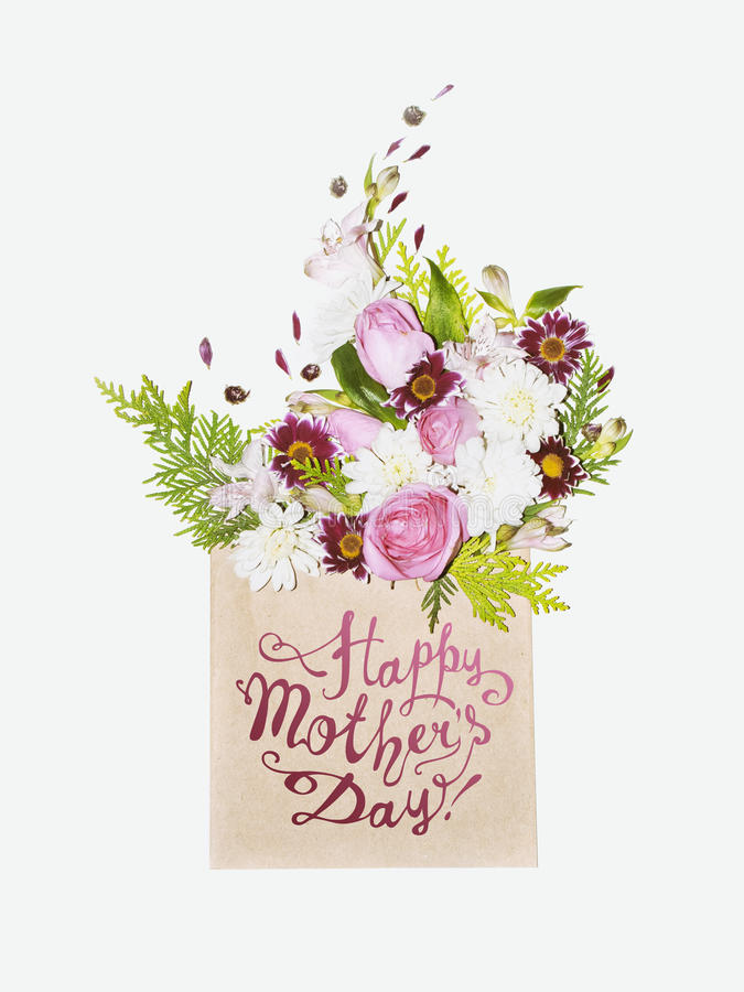 Happy Mother`s Day! Floral bouquet in envelope. Happy Mother`s Day! Pink floral bouquet in envelope stock images