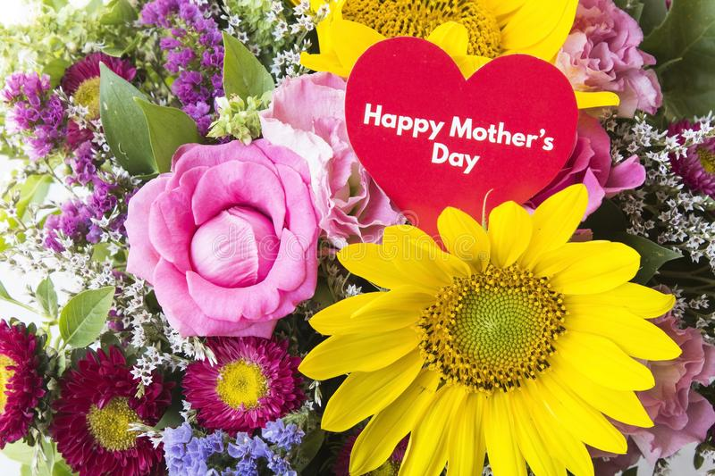 Happy Mother`s Day, Greeting Card, with Bouquet of Flowers royalty free stock photo
