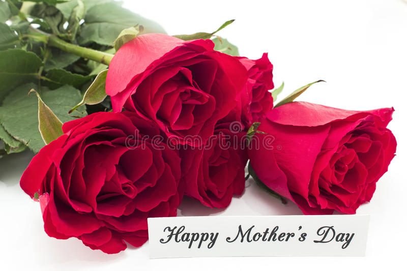 Happy Mother`s Day, Greeting Card, with Bouquet of Red Roses royalty free stock photo