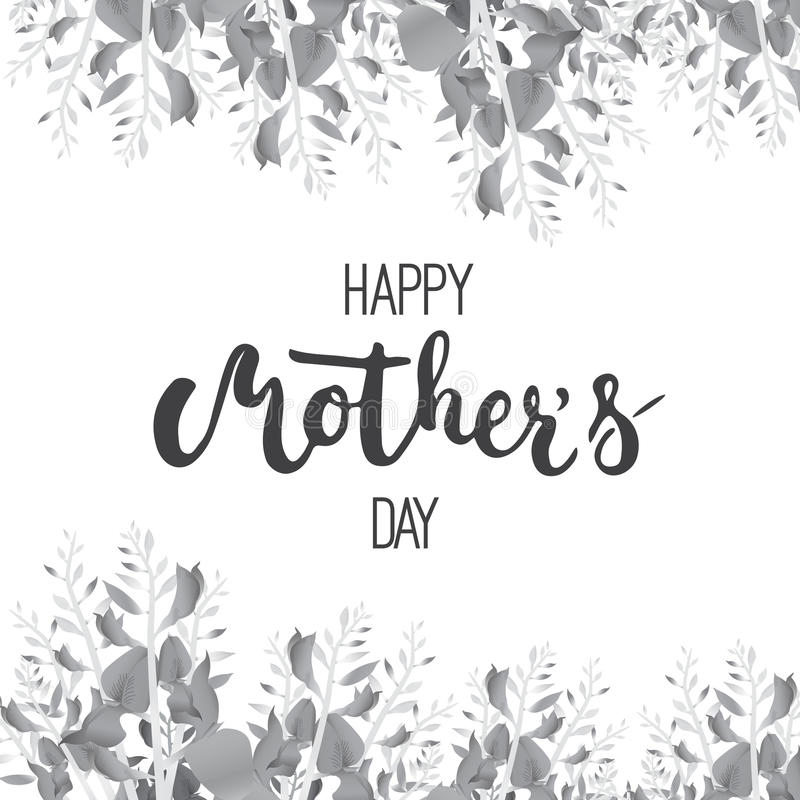 Happy Mother's day greeting card with calligraphy and flowers isolated on the white background. royalty free illustration