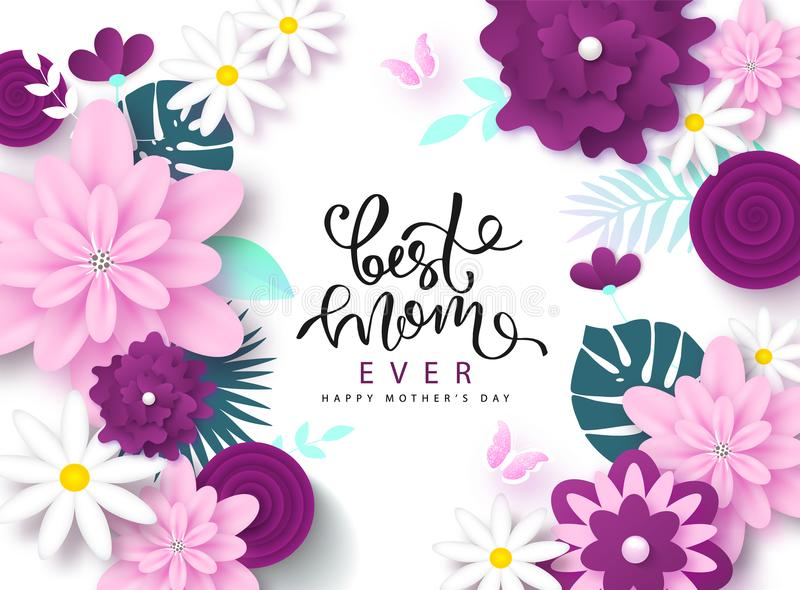 Happy Mother`s Day greeting card design with beautiful blossom flowers, butterflies and lettering. Best mom ever cute vector illustration