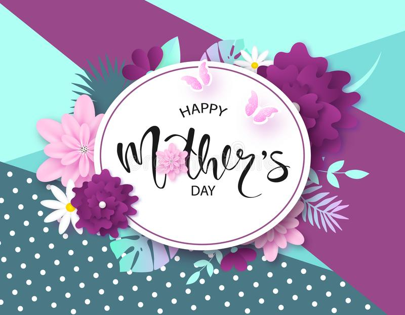 Happy Mother`s Day greeting card design with beautiful blossom flowers, butterflies and lettering. Design layout for royalty free illustration