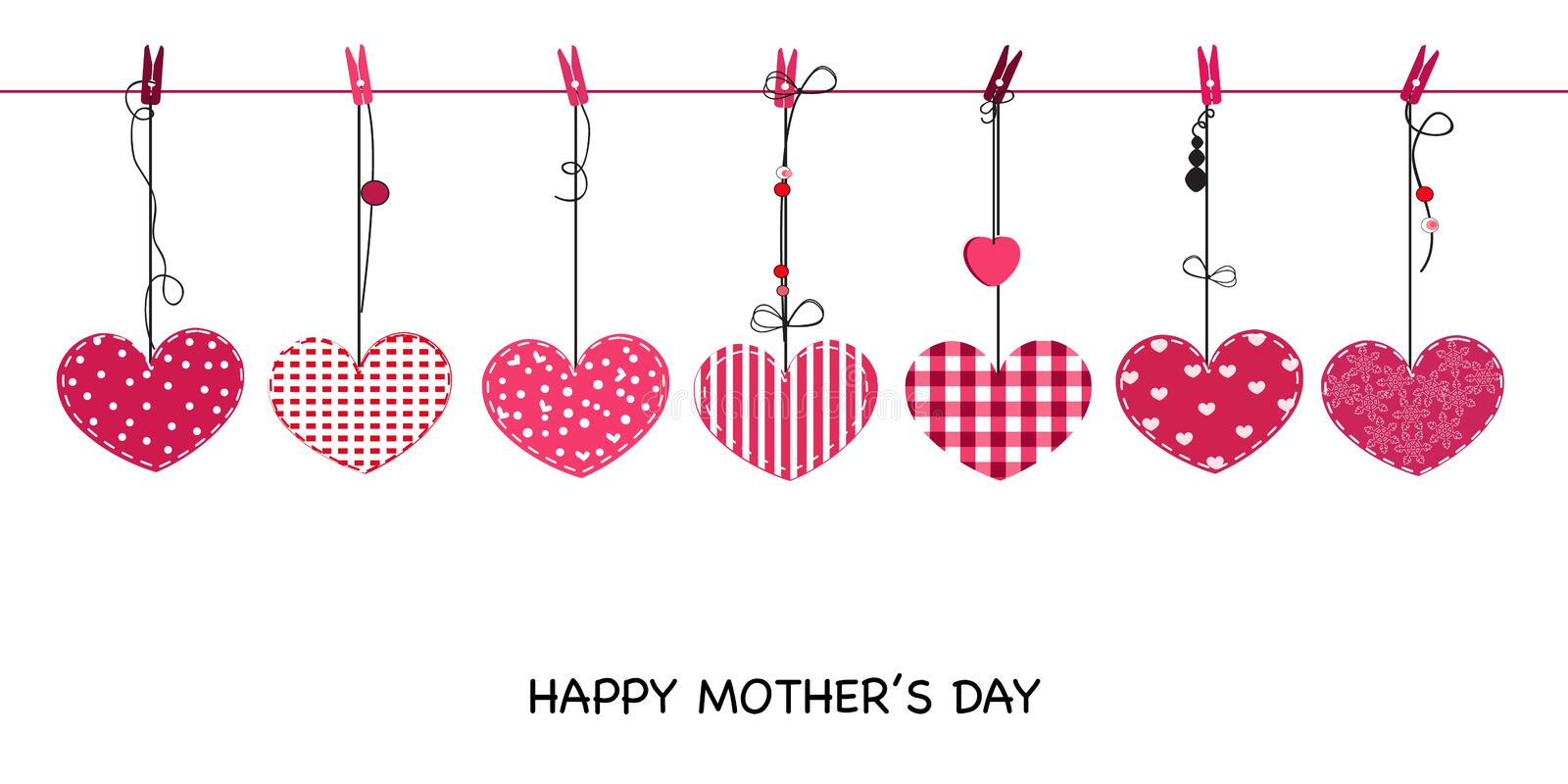 Happy Mother's day greeting card. Hanging cute valentine hearts vector background. Happy Mother's day greeting card. Hanging cute valentine hearts vector stock illustration