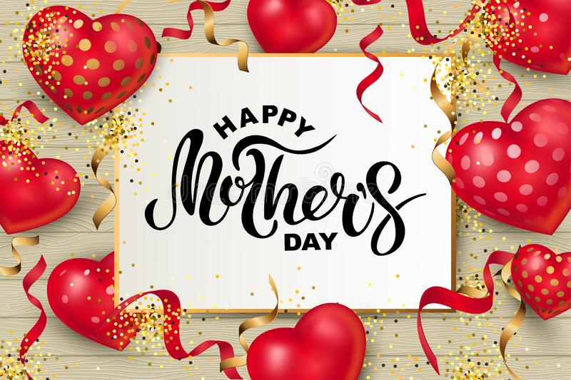 Happy Mother`s Day greeting card vector illustration