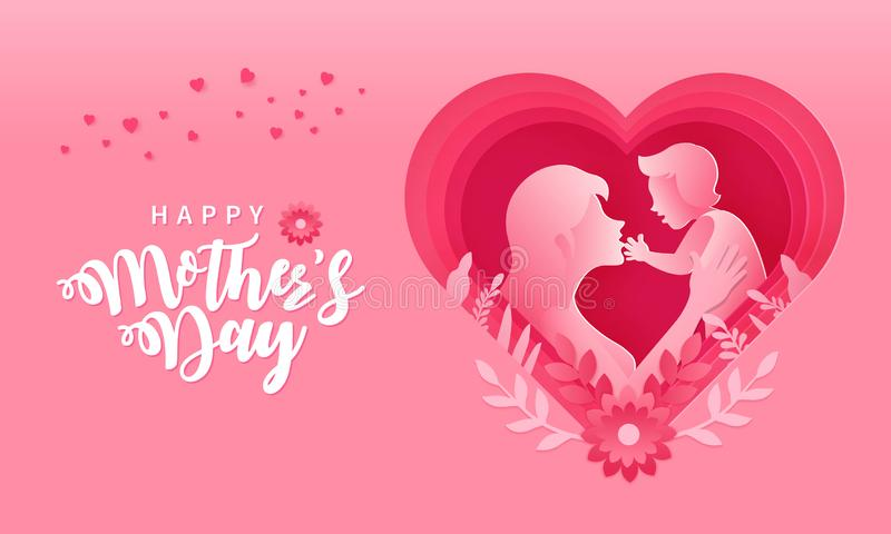 Happy Mother`s day greeting card in paper cut style illustration royalty free stock image