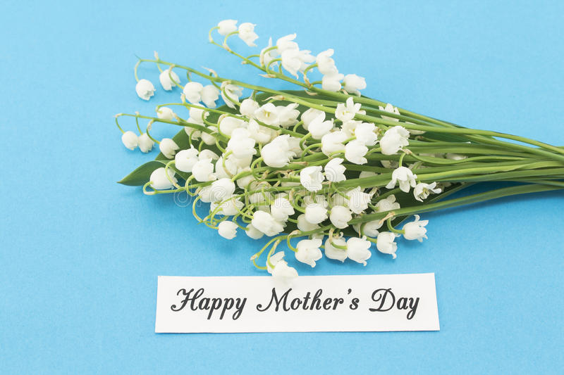 Happy Mother`s Day, Greeting Card, with Lily of the Valley Flo stock photos