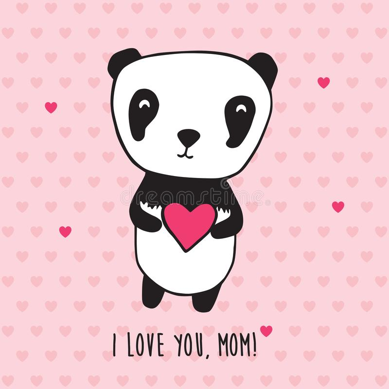 Happy Mother`s Day. Greeting card for Mother`s Day, Valentine`s Day, birthday with panda and hearts. Hand drawn panda for your des stock illustration