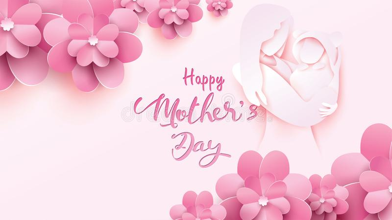 Happy mother`s day greeting card. Paper cut style mum smiling and holding healthy baby with happiness in pink background with vector illustration
