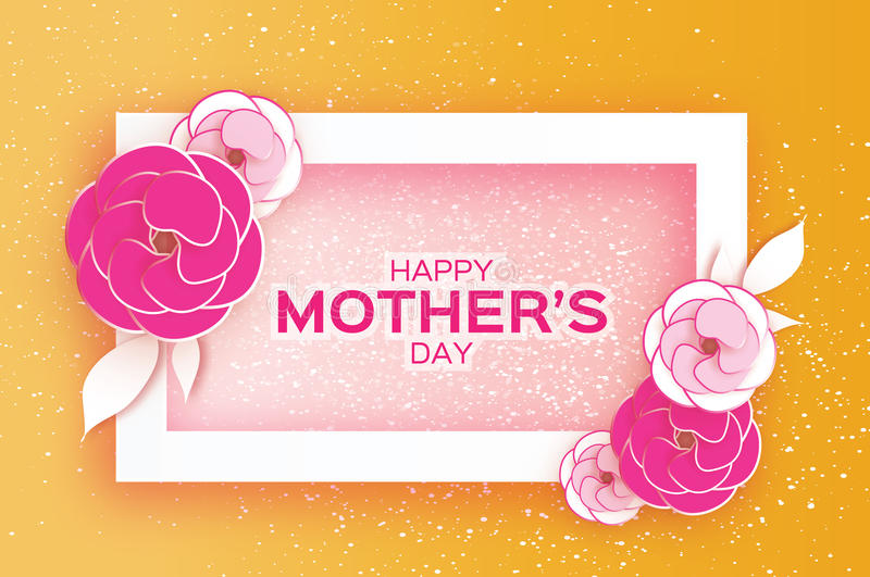 Happy Mother`s Day Greeting card. Pink Pastel Paper cut Flower. Rectangle Frame. Space for text. Happy Mother`s Day. Pink Pastel Floral Greeting card. Paper cut royalty free illustration