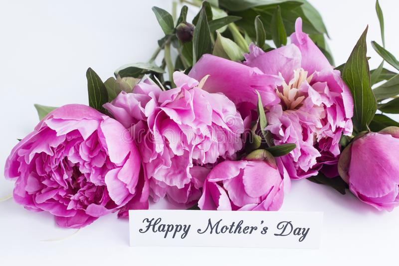 Happy Mother`s Day, Greeting Card, with Pink Peonies stock photography