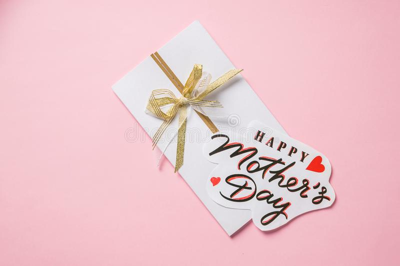Happy Mother s Day greeting card. red heart on inscription. Make colorful congratulation. Prepare a nice surprise. Mother`s Day. Happy Mother s Day greeting card stock photos