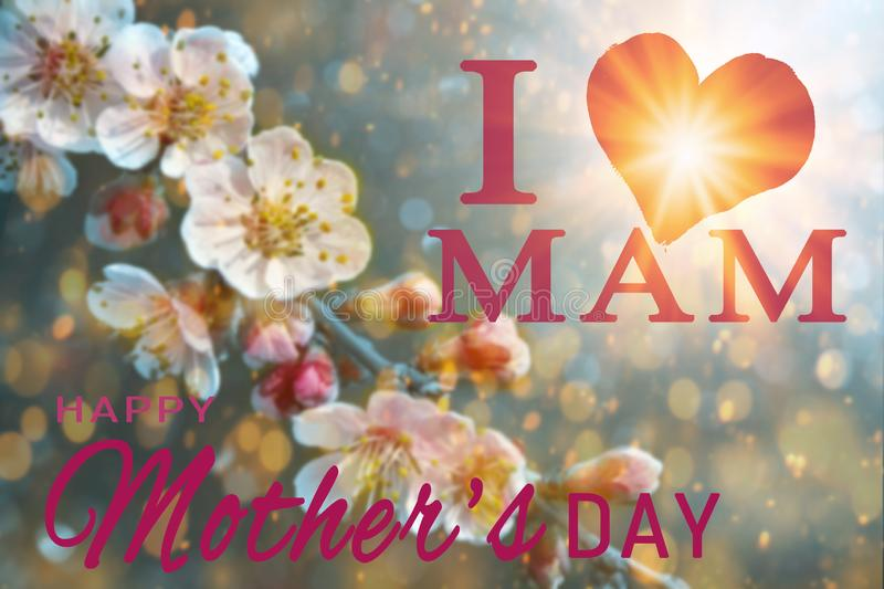 Happy Mother`s day greeting card. stock images