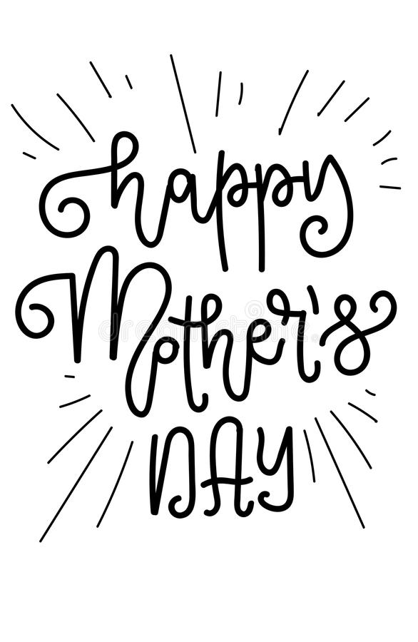 Happy Mother`s Day greeting card vector illustration. Hand lettering calligraphy holiday background in floral frame royalty free illustration