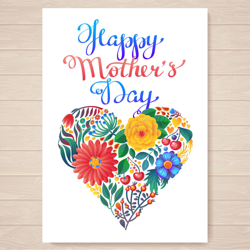 Happy mother's day hand-drawn lettering. Happy Mothers Day Typographical Background With Spring Flowers stock illustration