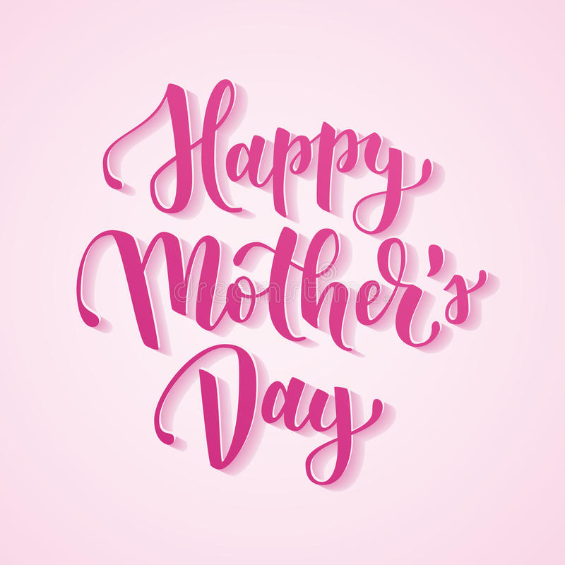 Happy mother`s day hand drawn lettering for mother greeting card or banner. Pink brush calligraphy vector illustration stock illustration