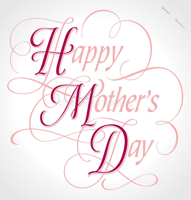 happy mothers day hand lettering (vector) stock image