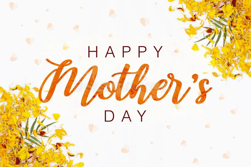 Happy  mother`s day layout design with flower petal background. Best mom/mum ever cute design for menu, flyer, card stock illustration