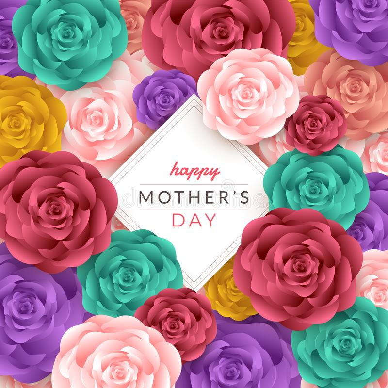 Happy mother's day layout design with roses, lettering, paper cu stock illustration