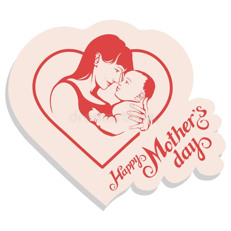 Happy Mother`s day Lettering. Silhouette of a mother and her child. Mother`s day greeting card. Maternal love for Her Baby vector illustration
