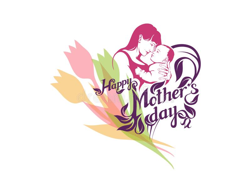 Happy Mother`s day Lettering. Silhouette of a mother and her child. Mother`s day greeting card. Maternal love for Her Baby royalty free illustration