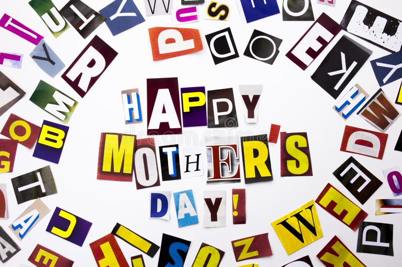 A word writing text showing concept of Happy Mother`s Day made of different magazine newspaper letter for Business case on the wh. Happy Mother`s Day made of royalty free stock photos