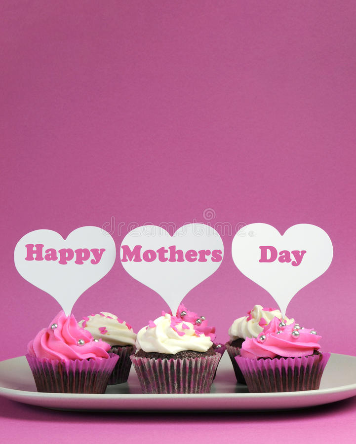 Download Happy Mother's Day Message On Pink And White Decorated Cupcakes - Vertical With Copy Space Royalty Free Stock Photos - Image: 30435458
