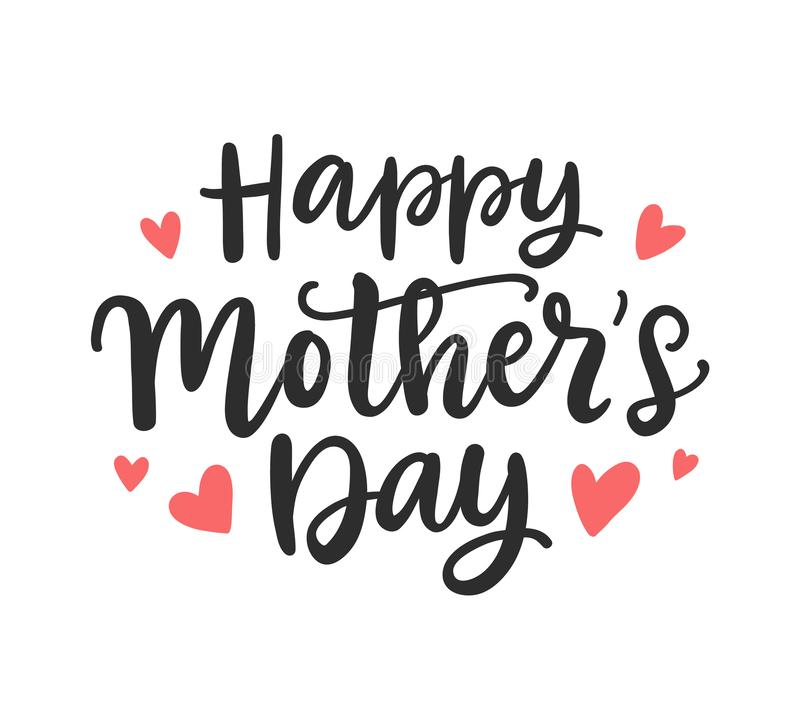 Happy Mother`s Day modern calligraphy Background royalty free illustration