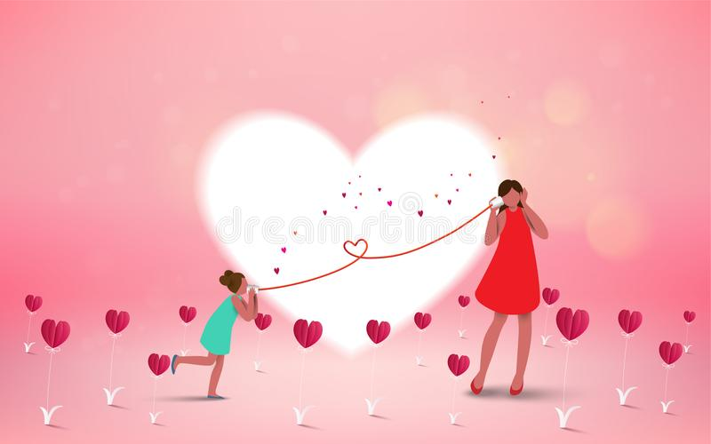 Happy mother`s day. Mom and her daughter child are playing, smil royalty free illustration