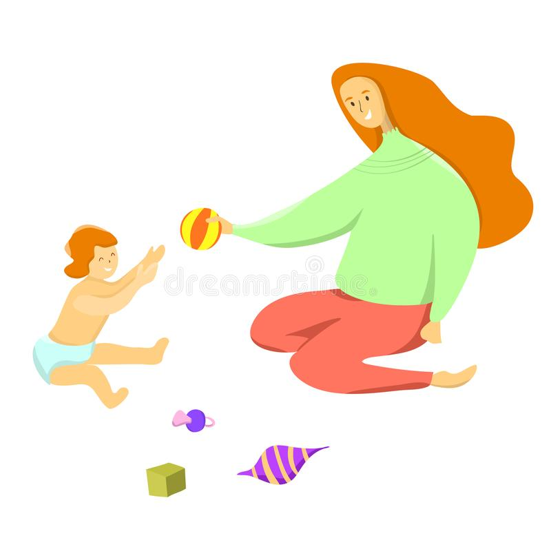 Happy Mother`s Day. Happy motherhood concept. Mom with a baby, child, toddler plays on a floor with toys. Vector illustration of mothers and her child. Happy royalty free illustration
