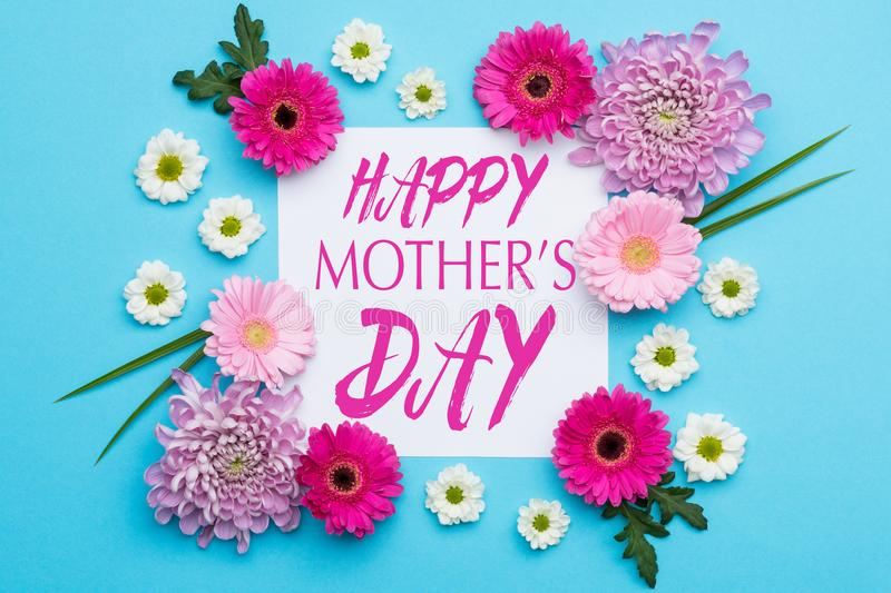 Happy Mother`s Day Pastel Candy blue Colours Background. Floral flat lay. royalty free stock photos